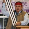 Jake Edwards of the Onondaga Nation Council of Chiefs explains the significance of the Two Row Wampum to people in New Paltz in November 2012.