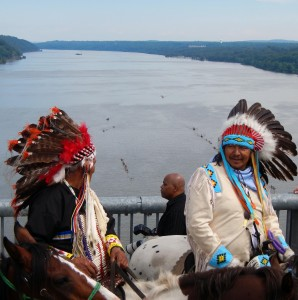 Unity Riders on the Walkway over the Hudson as the Two Row participants paddle below on August 3rd
