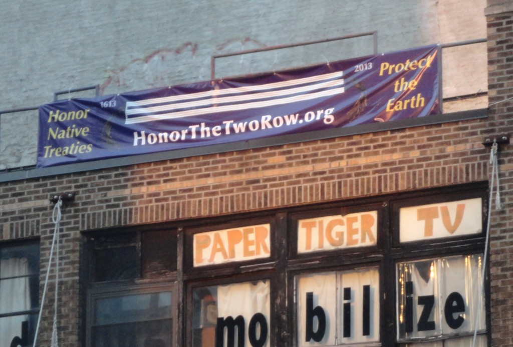 Two Row Co-sponsor the AJ Muste Institute, hung our banner on their visible headquarters on the lower east side of Manhattan as part of their support for the campaign.