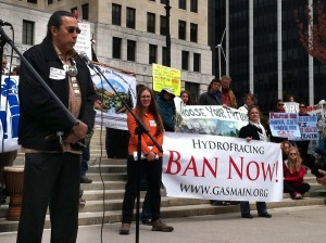 The Onondagas were among the first in NYS to be aware of the dangers of hydrofracking. Tadodaho' Sid Hill speaking at an anti-fracking rally in Albany on May 2, 2011. Photo: NOON Archives.
