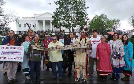 Onondaga Nation leaders bring the Canandaigua Treaty belt to the White House to remind the U.S. government of their obligations. Photo: Travis Shoff